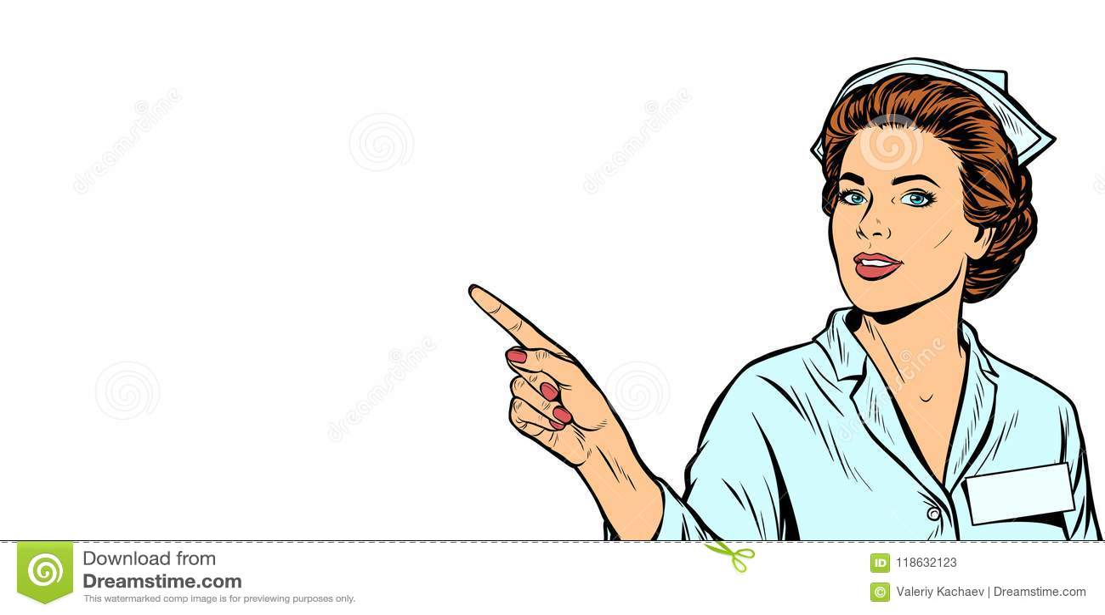 De verpleegster richt een vinger