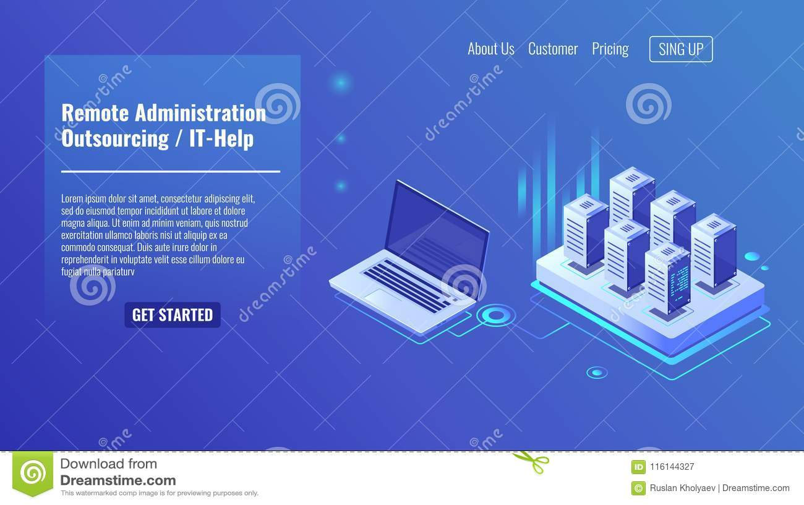 De verre beleidsdienst, delocaliseringsconcept, het hulp, het rek van de serverruimte, de isometrische vector van de gegevensbest
