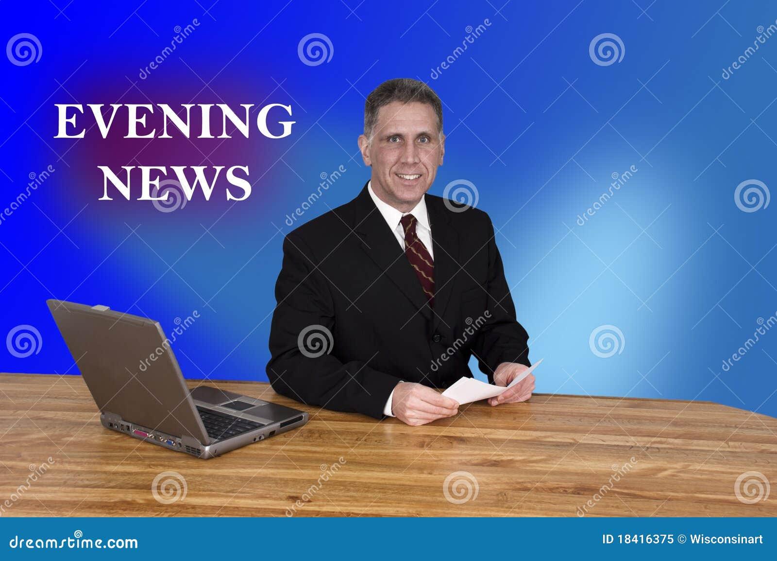 De Verslaggever Newscast van de Programmacoördinator van het Nieuws van de Avond van TV