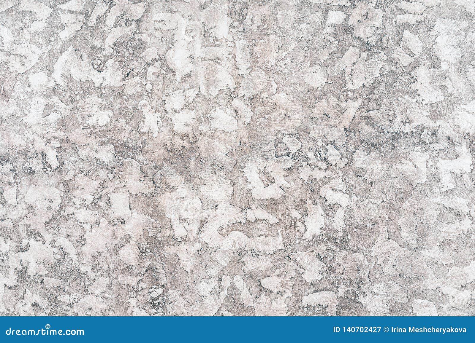 De versleten bleke witte en zwarte concrete achtergrond van de muurtextuur Geweven pleister