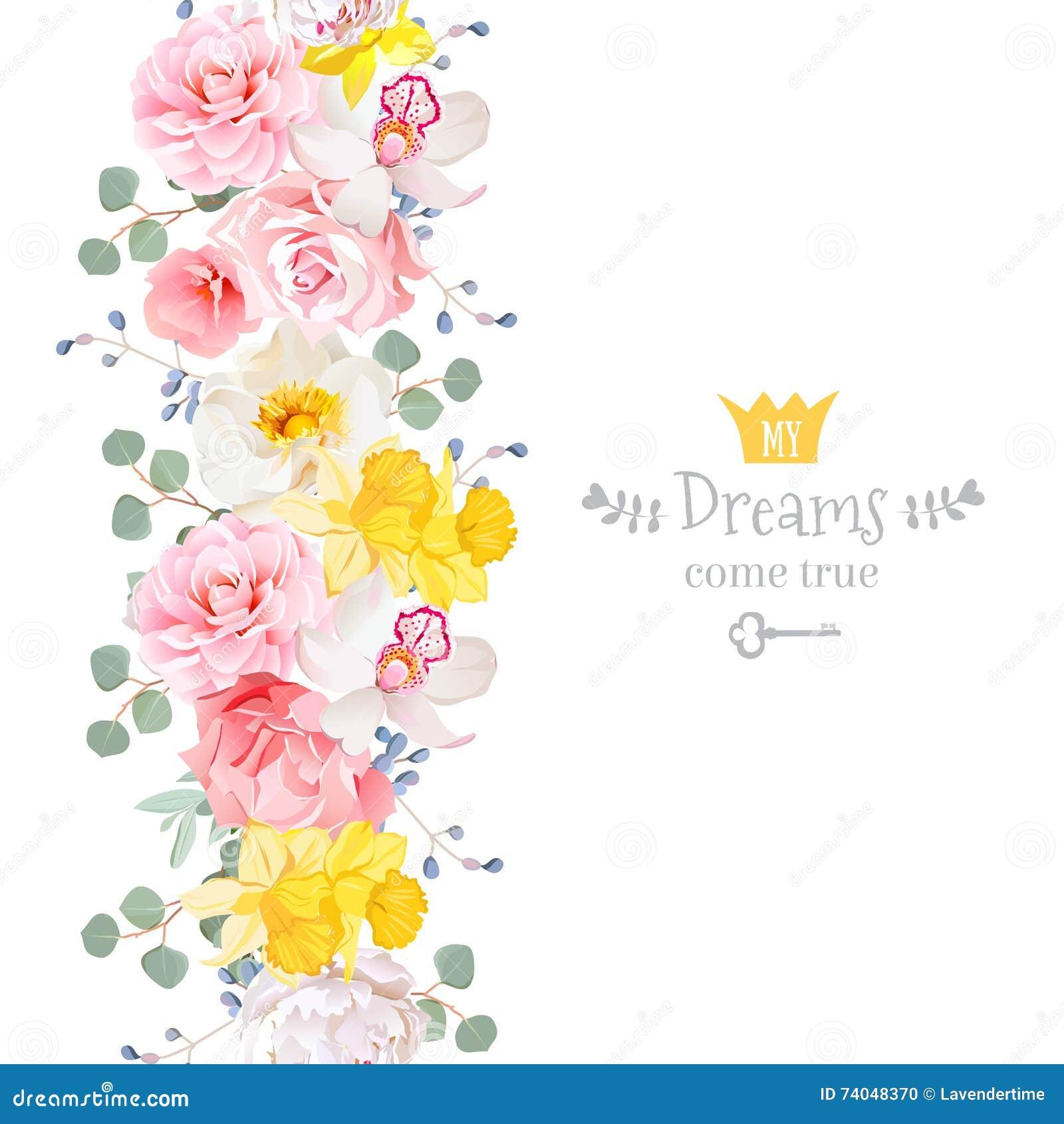 De verticale naadloze lijnslinger met wilde camelia, nam, pioen, orchidee, anjer, narcissen, eucaliptusbladeren en blauwe bessen