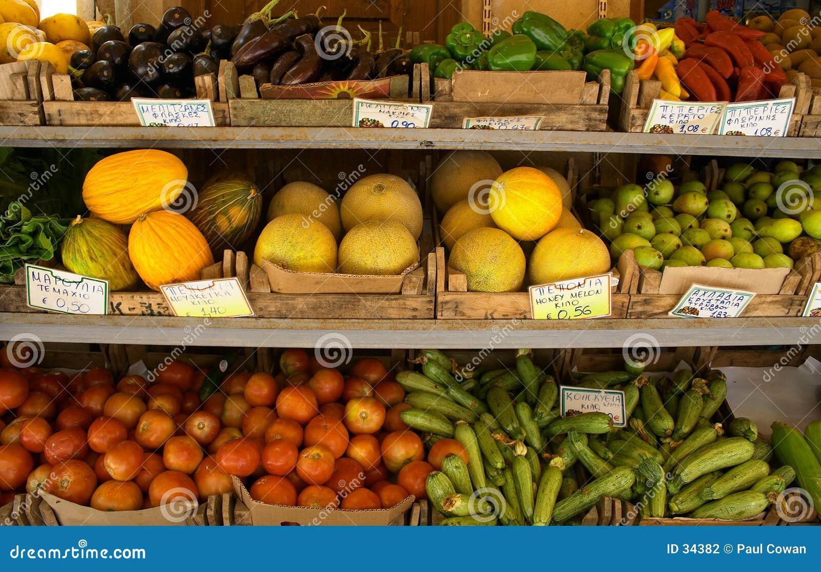 De vertoning van de fruithandelaar