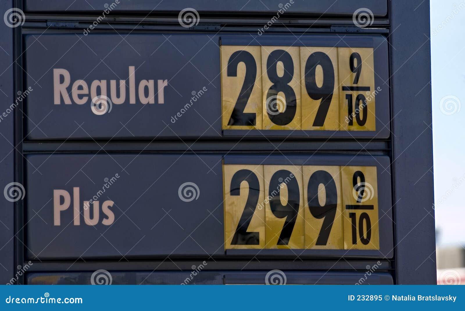De vertoning van het benzinestation