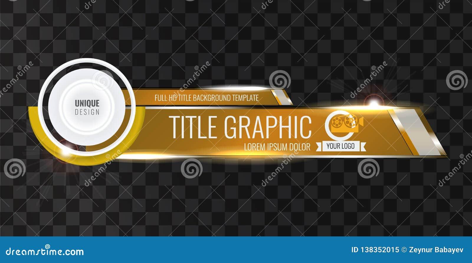 De videokrantekoptitel of vermindert derde malplaatje met stroom en bokeh lichteffect Uniek bannerontwerp voor video gouden