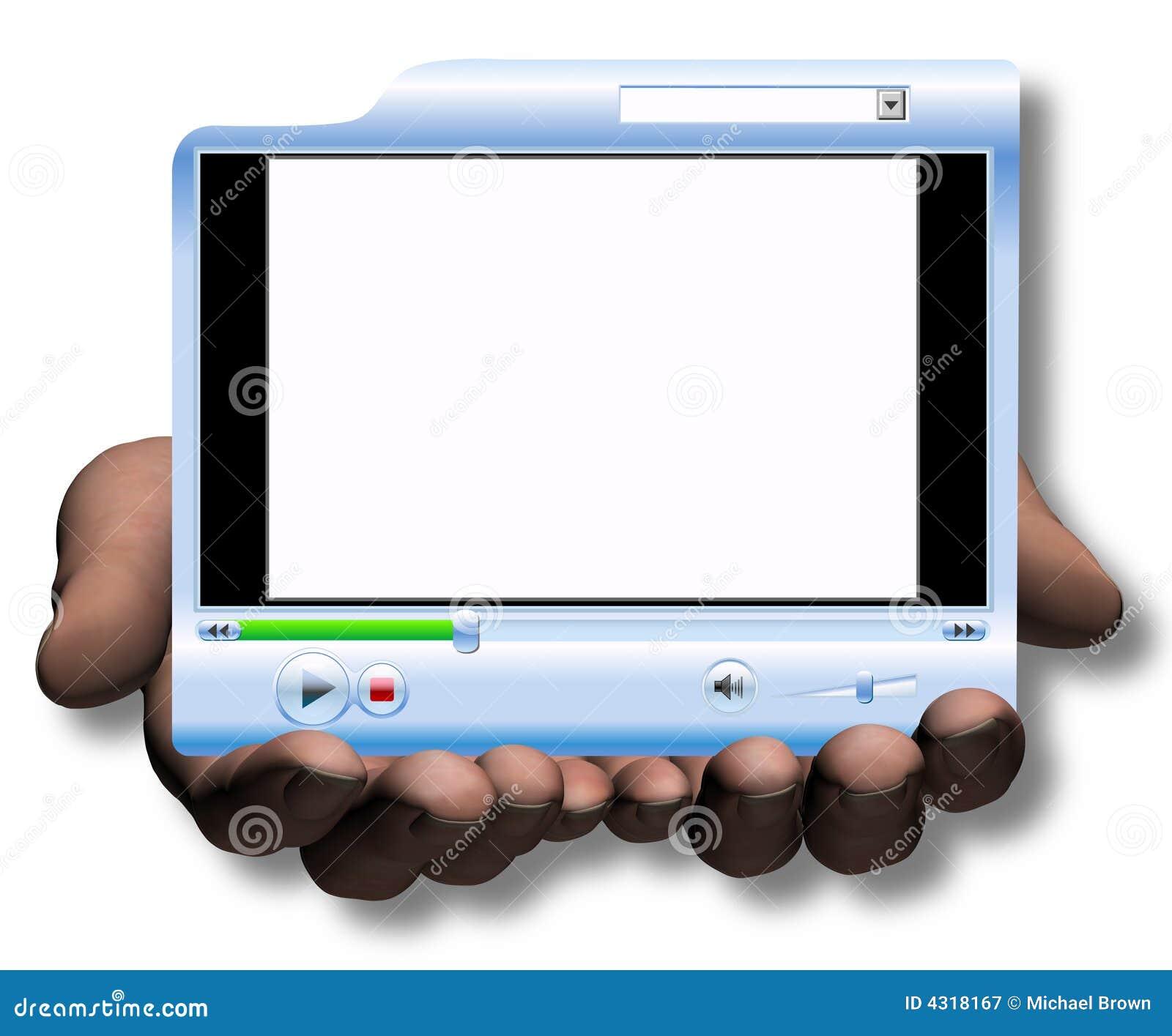 De VideoPresentatie van Media Player van de Greep & van de Aanbieding van handen