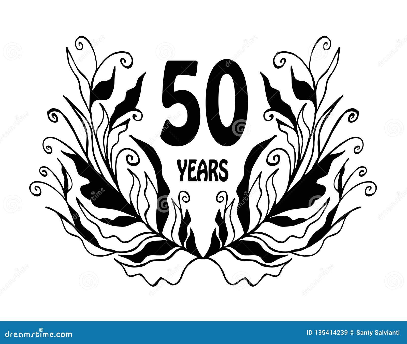 De vieringskaart van de 50 jaarverjaardag - Vector