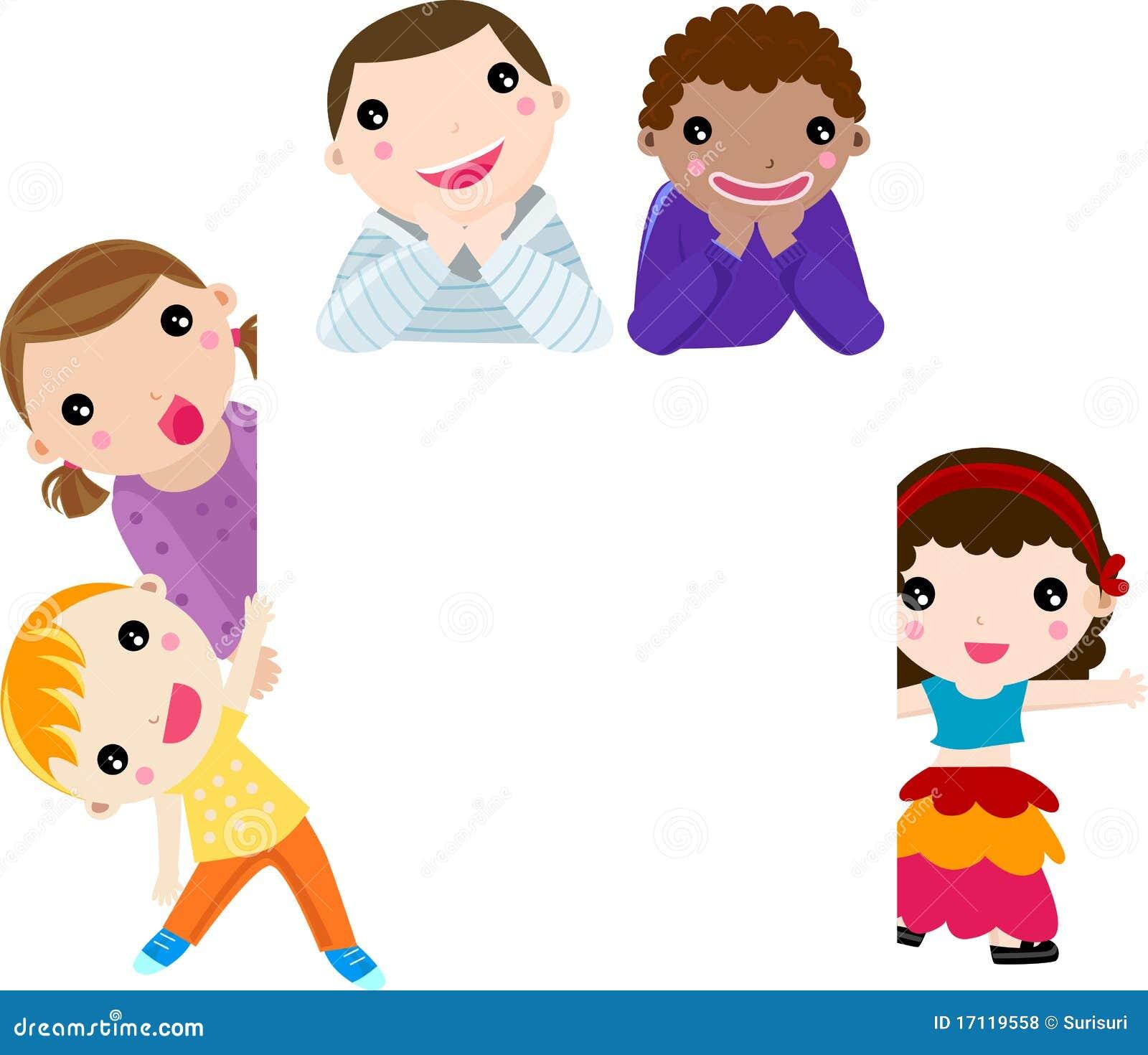De vijf kinderen van verschillende nationaliteiten. De illustratie kan ...