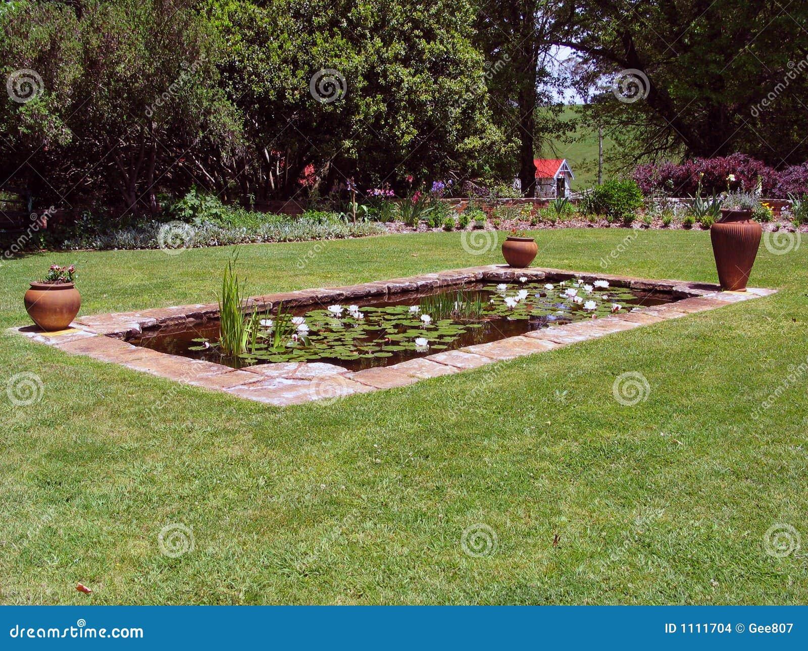 De vijver van de tuin stock foto afbeelding bestaande uit for Vissen vijver