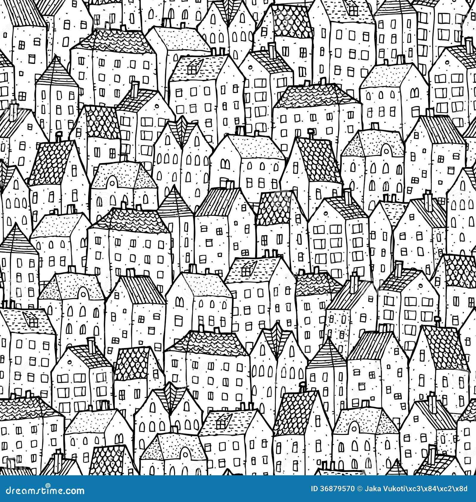 De ville de modèle dos et blanc sans couture dedans