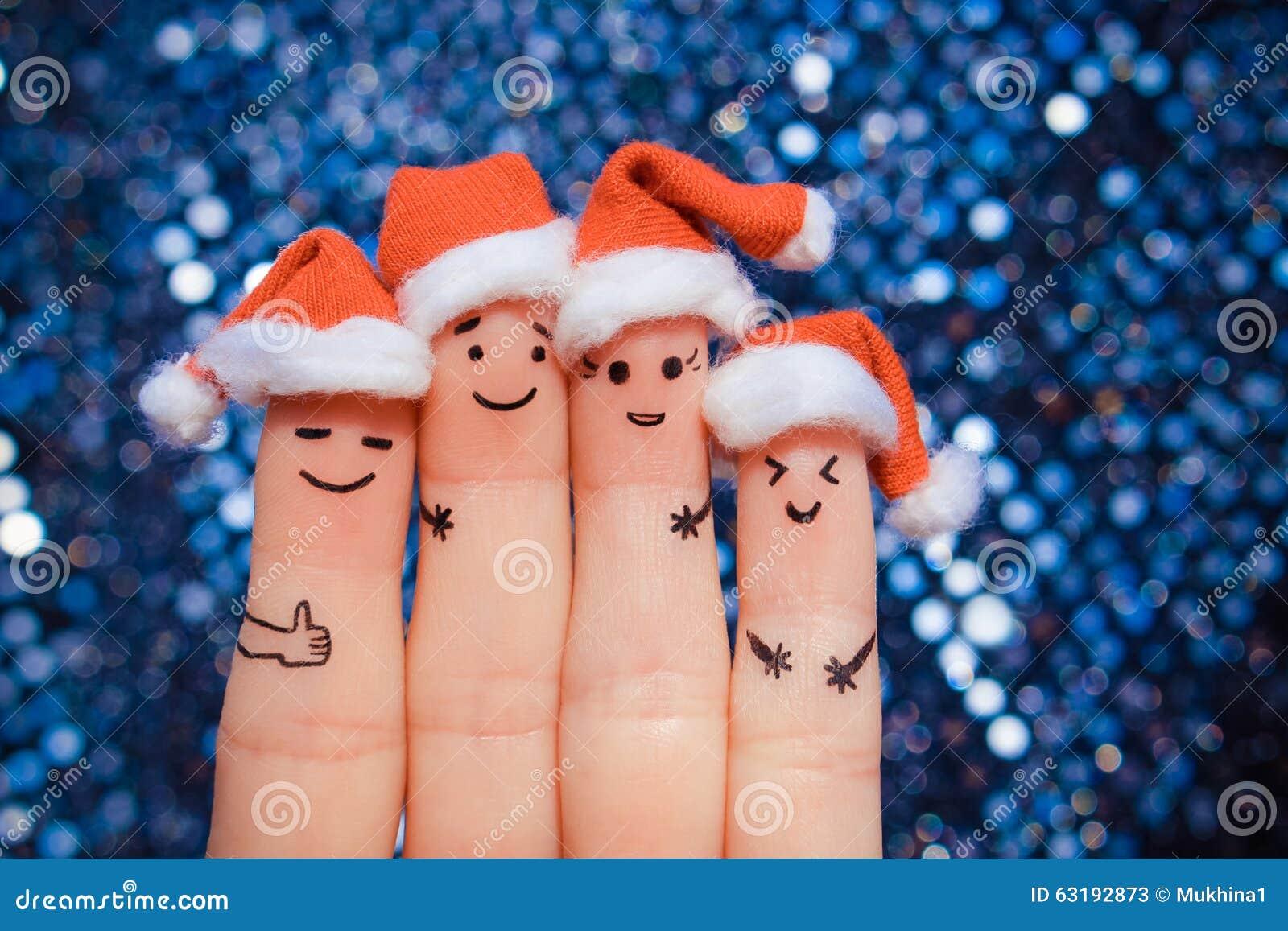 De vingerkunst van vrienden viert Kerstmis