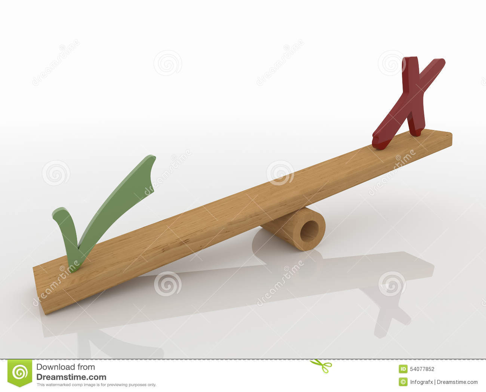 De vinkjes die op 3D Geschommel in evenwicht brengen, geven terug