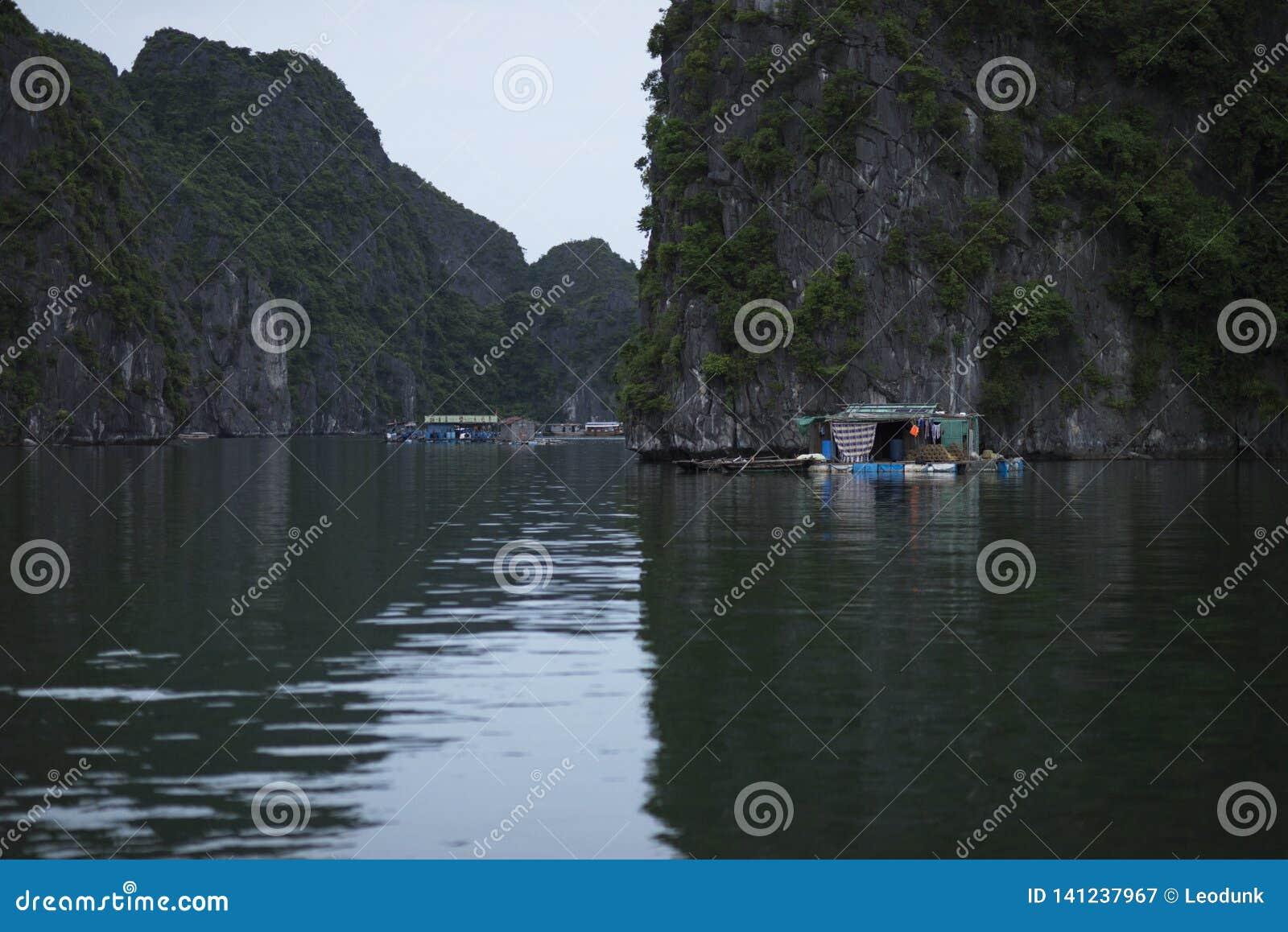 De visser in Ha snakt Baai, Vissenboot en Huisvissers in prachtig landschap van Halong-Baai, Vietnam