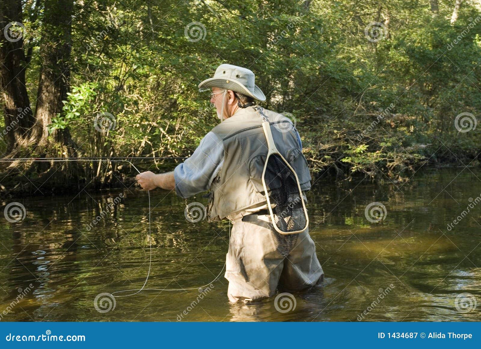 De visser van de vlieg met netto