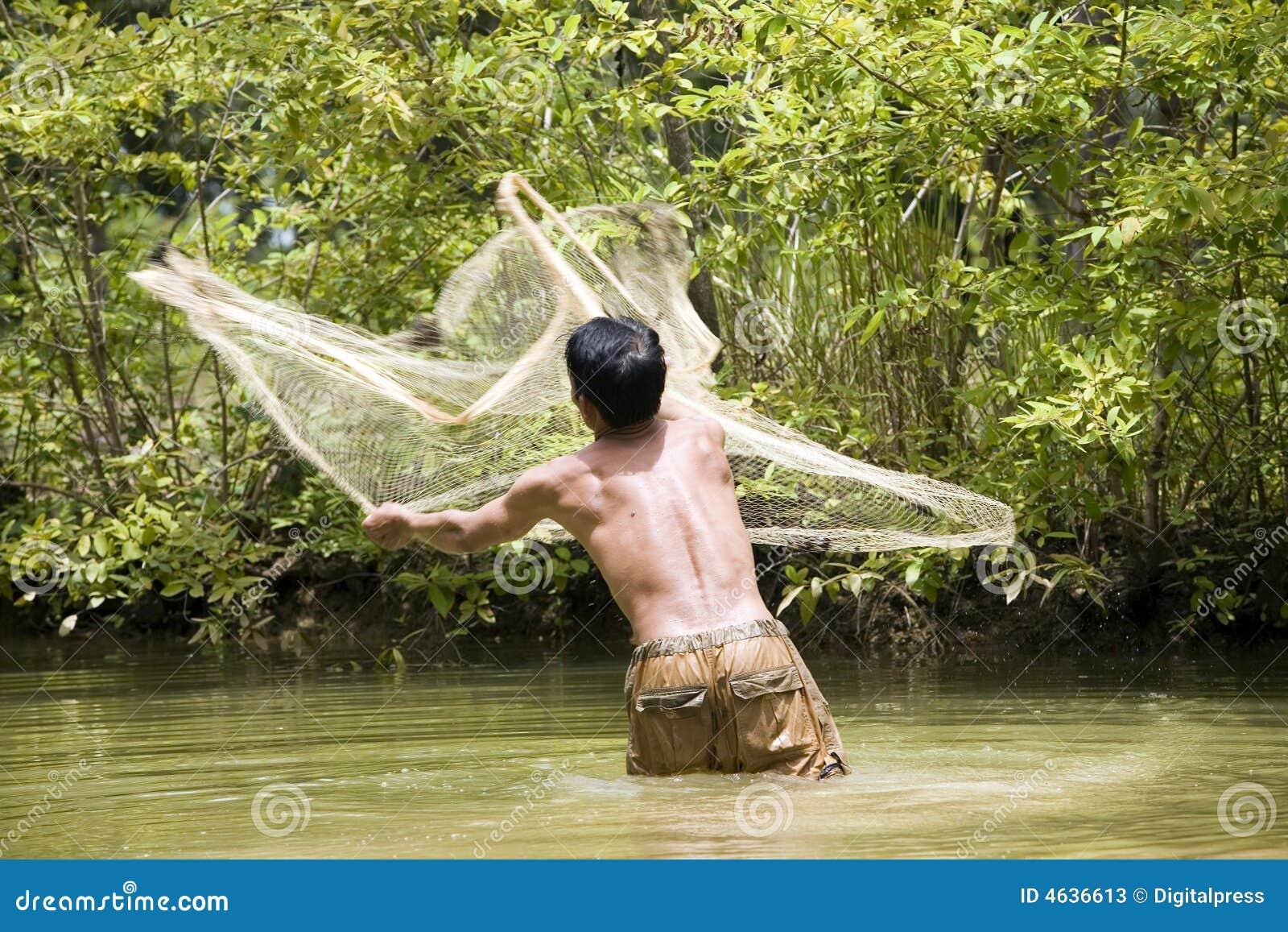 De visserij met werpt netto