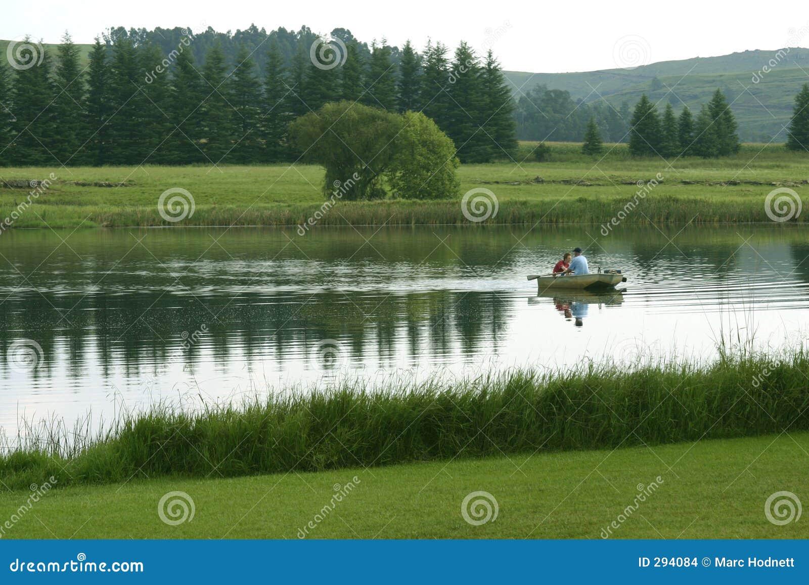 De visserij van het meer
