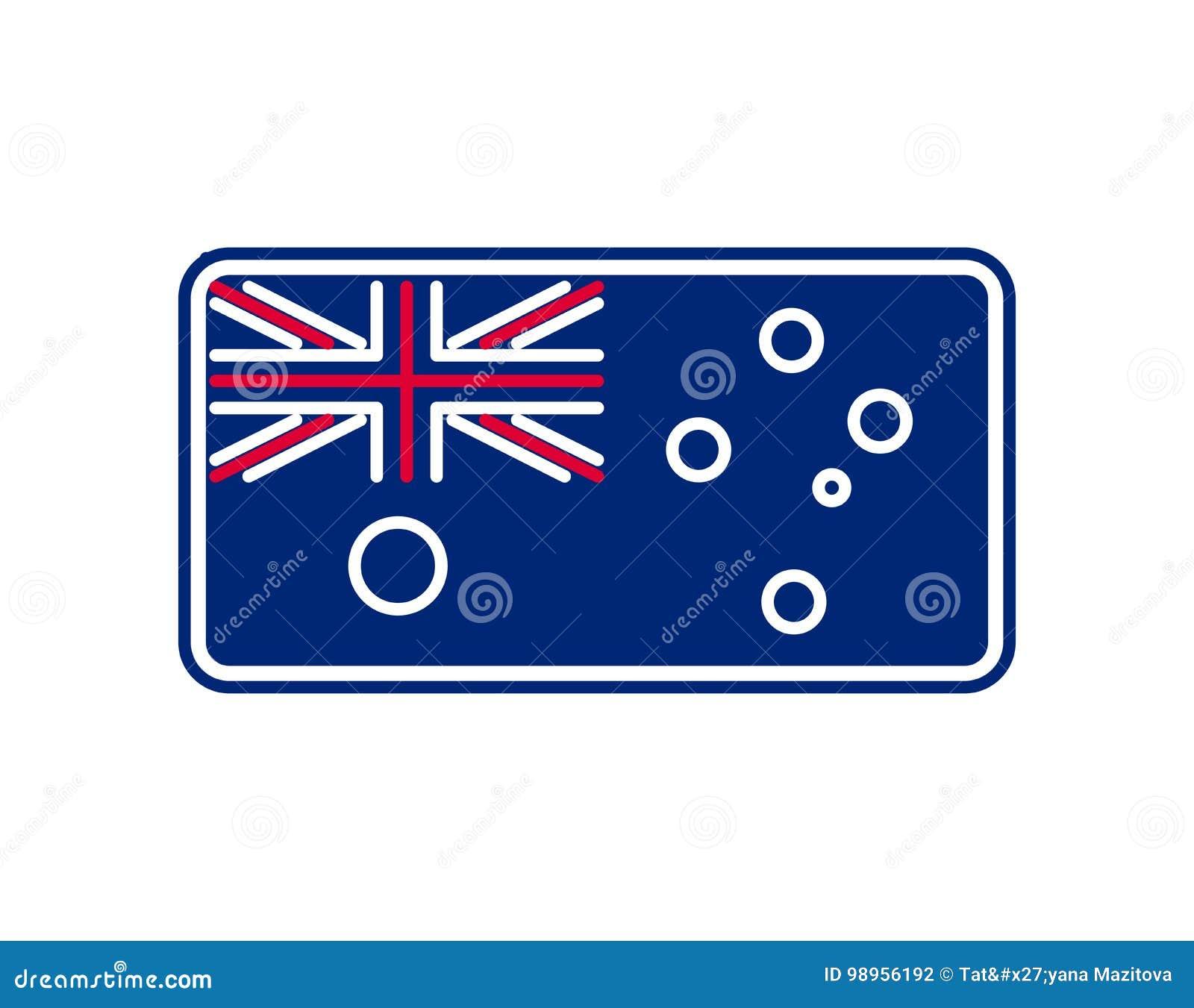 De vlag lineaire stijl van Australië Teken Australiër Nationaal symbool