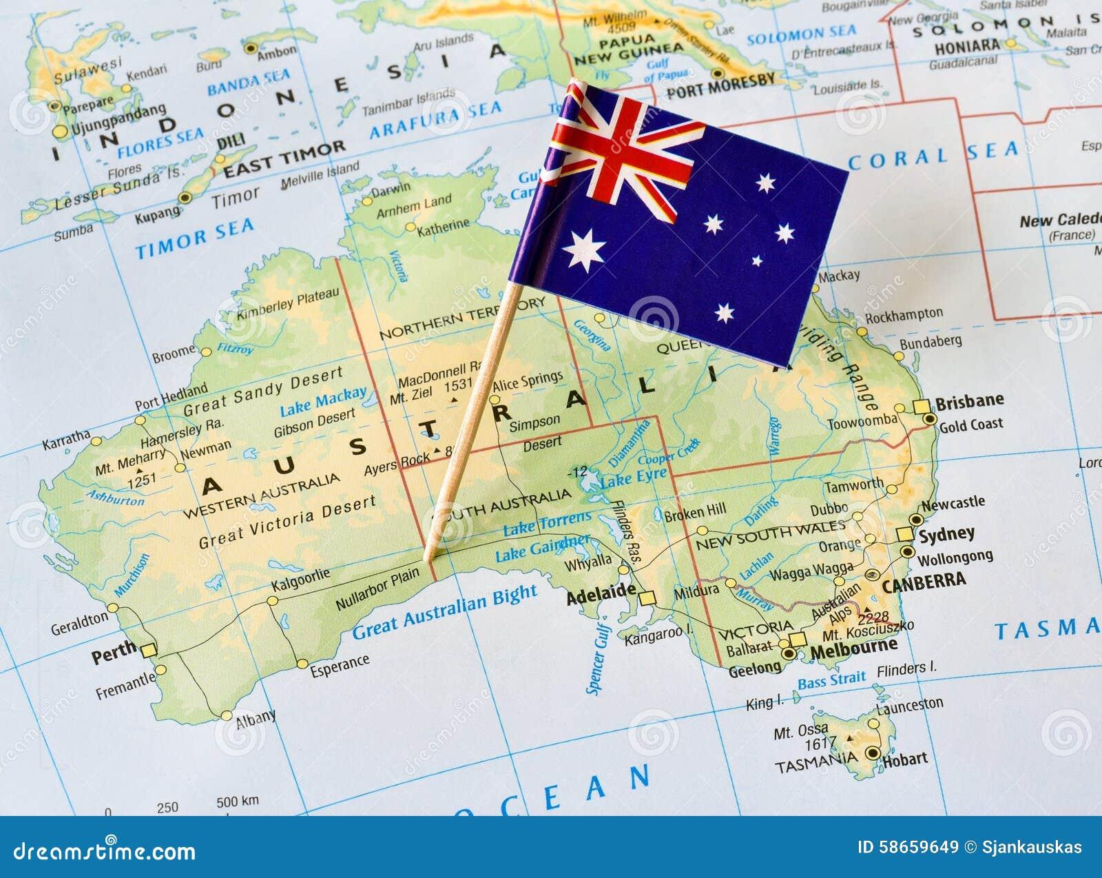 De vlag van Australië op kaart