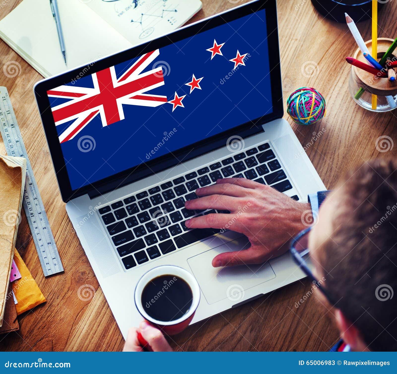 De Vlag van bedrijfs Nieuw Zeeland Nationaal Communicatie Concept