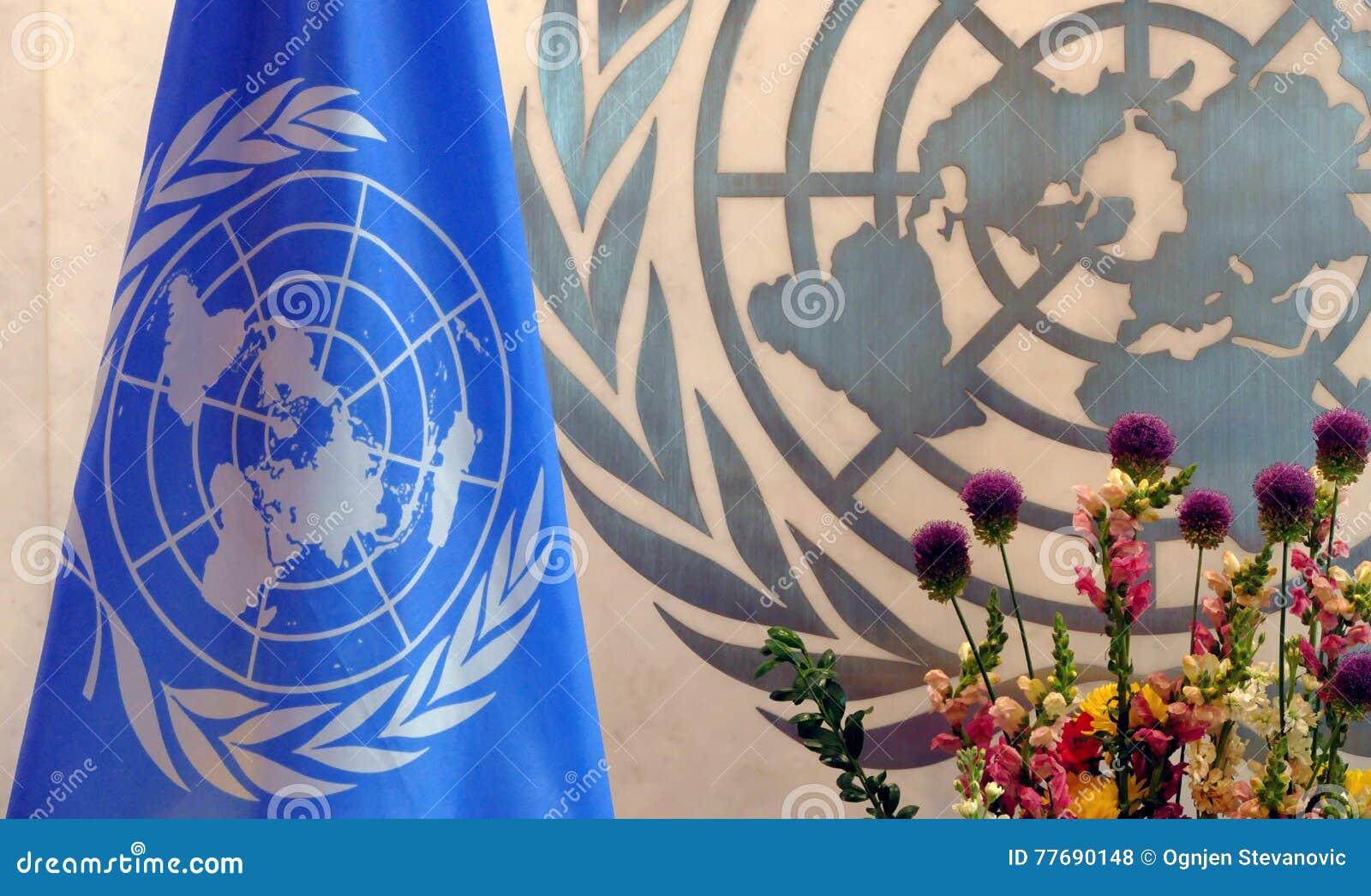De Vlag van de Verenigde Naties in bureau van de V.N.-Hoofdkwartier in New York