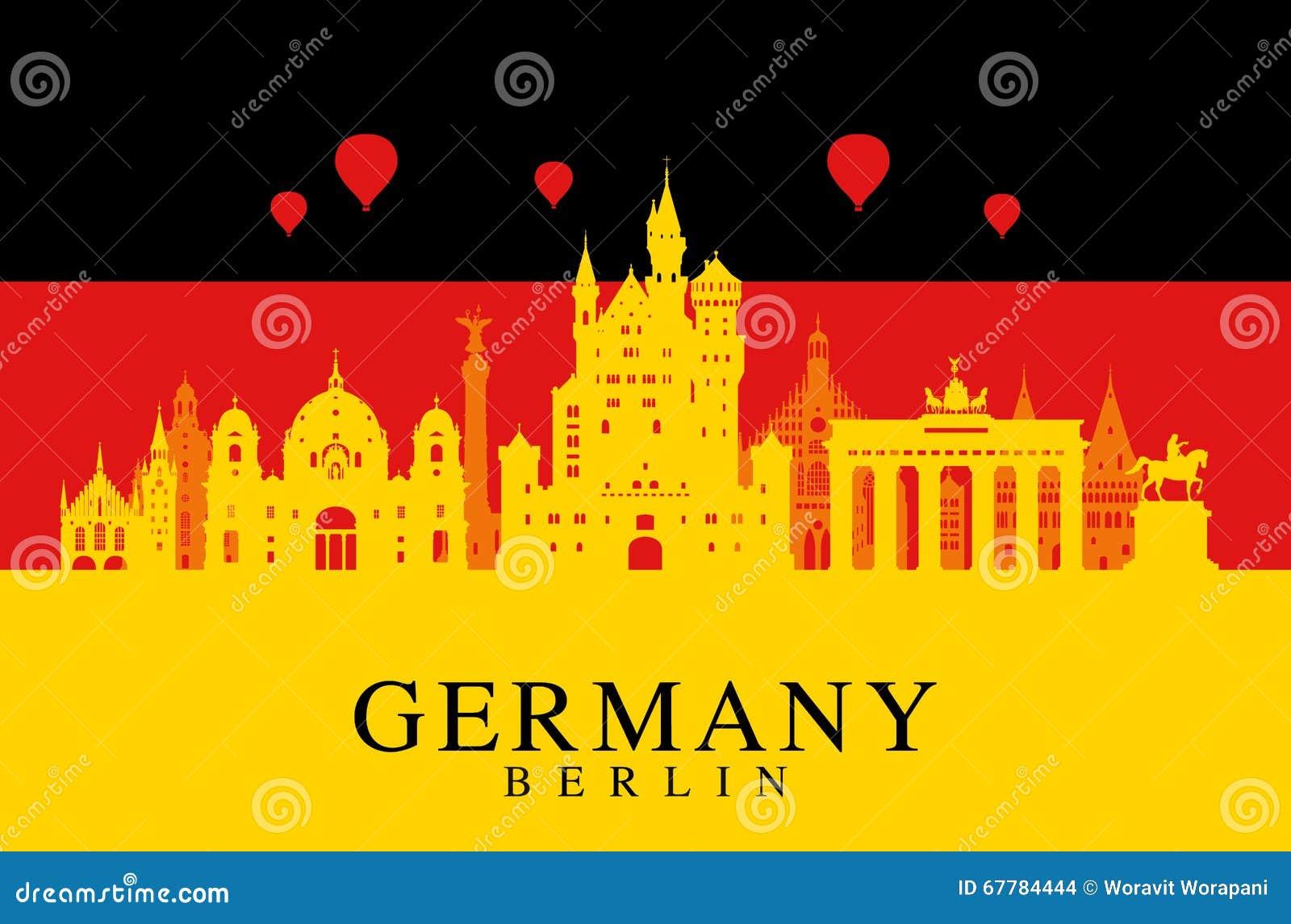 De vlag van Duitsland, de reisoriëntatiepunt van Berlijn