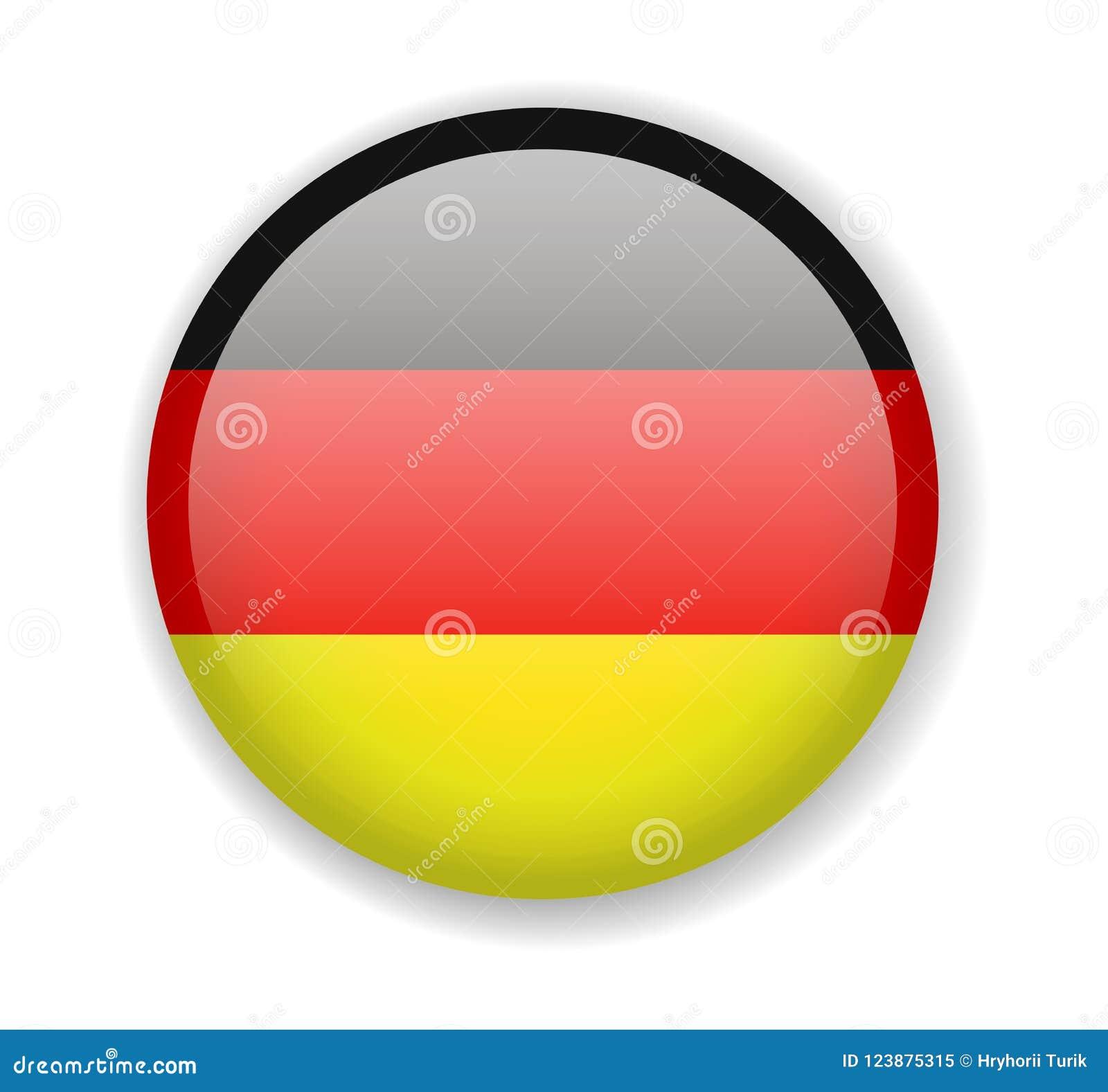 De Vlag van Duitsland Rond helder Pictogram op een witte achtergrond