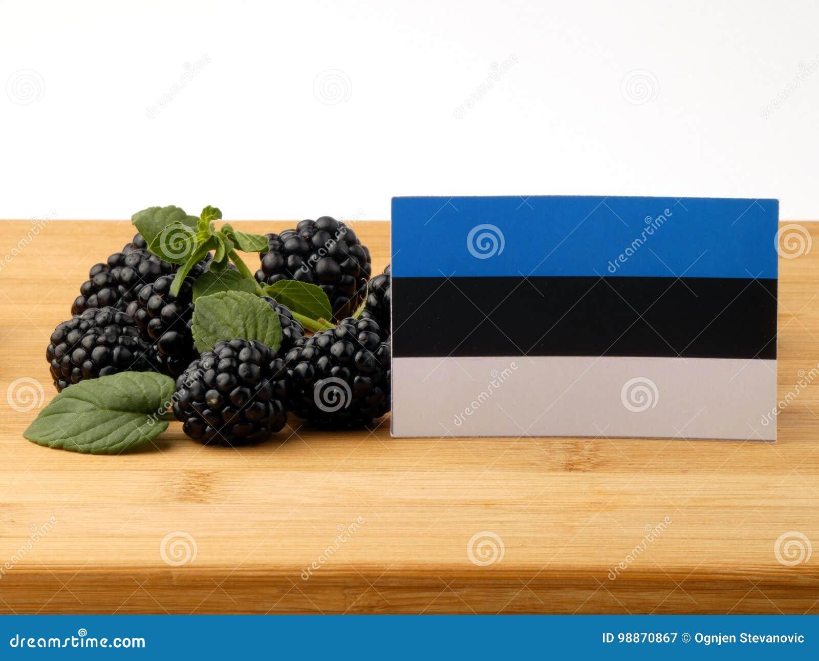 De vlag van Estland op een houten die paneel met braambessen op w wordt geïsoleerd