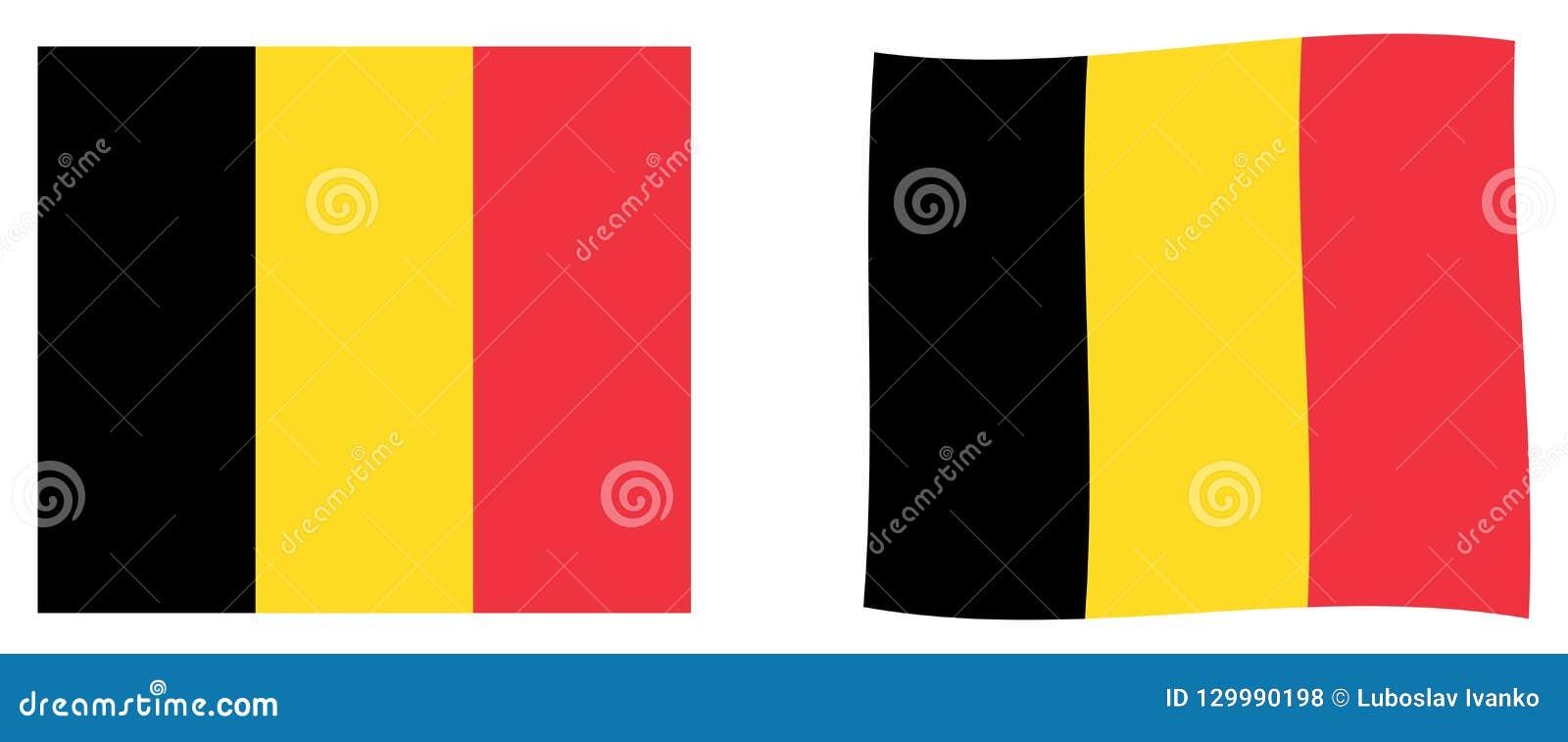 De vlag van het koninkrijk van België Eenvoudig en lichtjes het golven versie