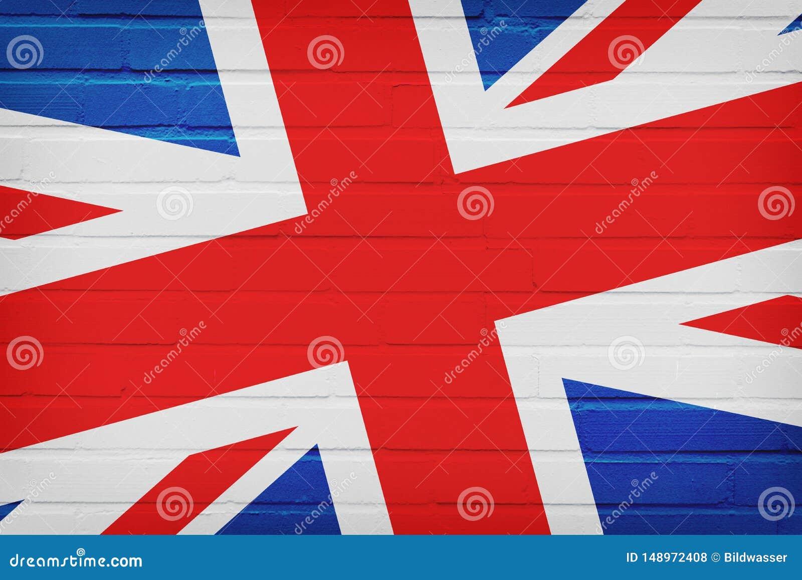 De VLAG van het Verenigd Koninkrijk OP BAKSTENEN MUUR wordt GESCHILDERD die