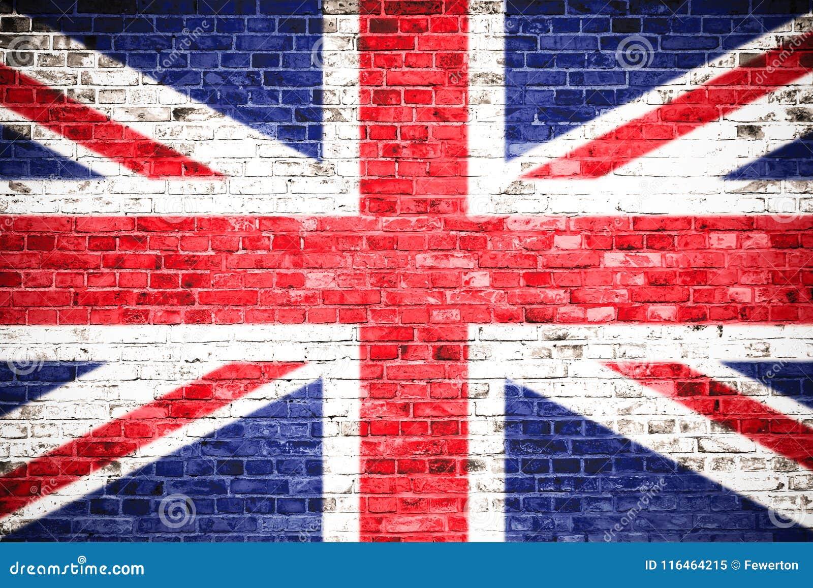 De vlag van het Verenigd Koninkrijk het UK op een bakstenen muur wordt geschilderd die Conceptenbeeld voor Groot-Brittannië, Brit