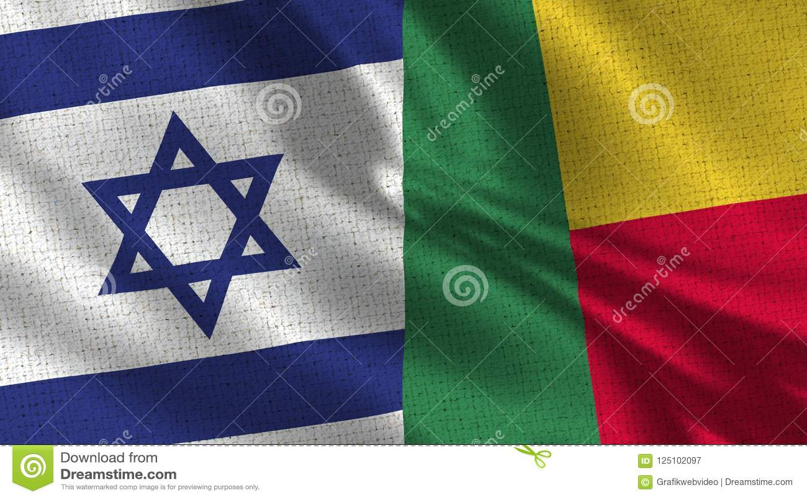 De Vlag van Israël en Benin - Vlag Twee samen