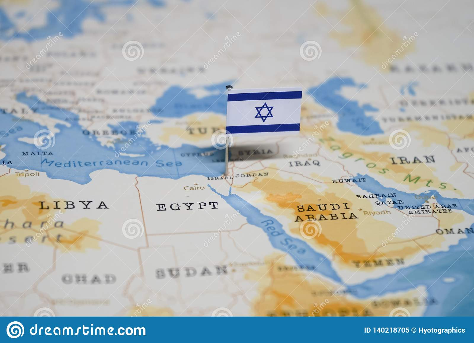 De Vlag van Israël in de wereldkaart