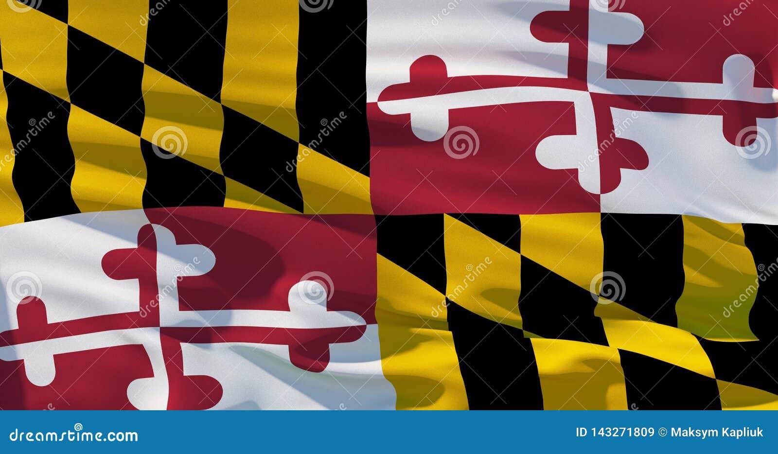 De vlag van Maryland, driedimensionele Satijnvlag, geeft, 4K-kwaliteit terug
