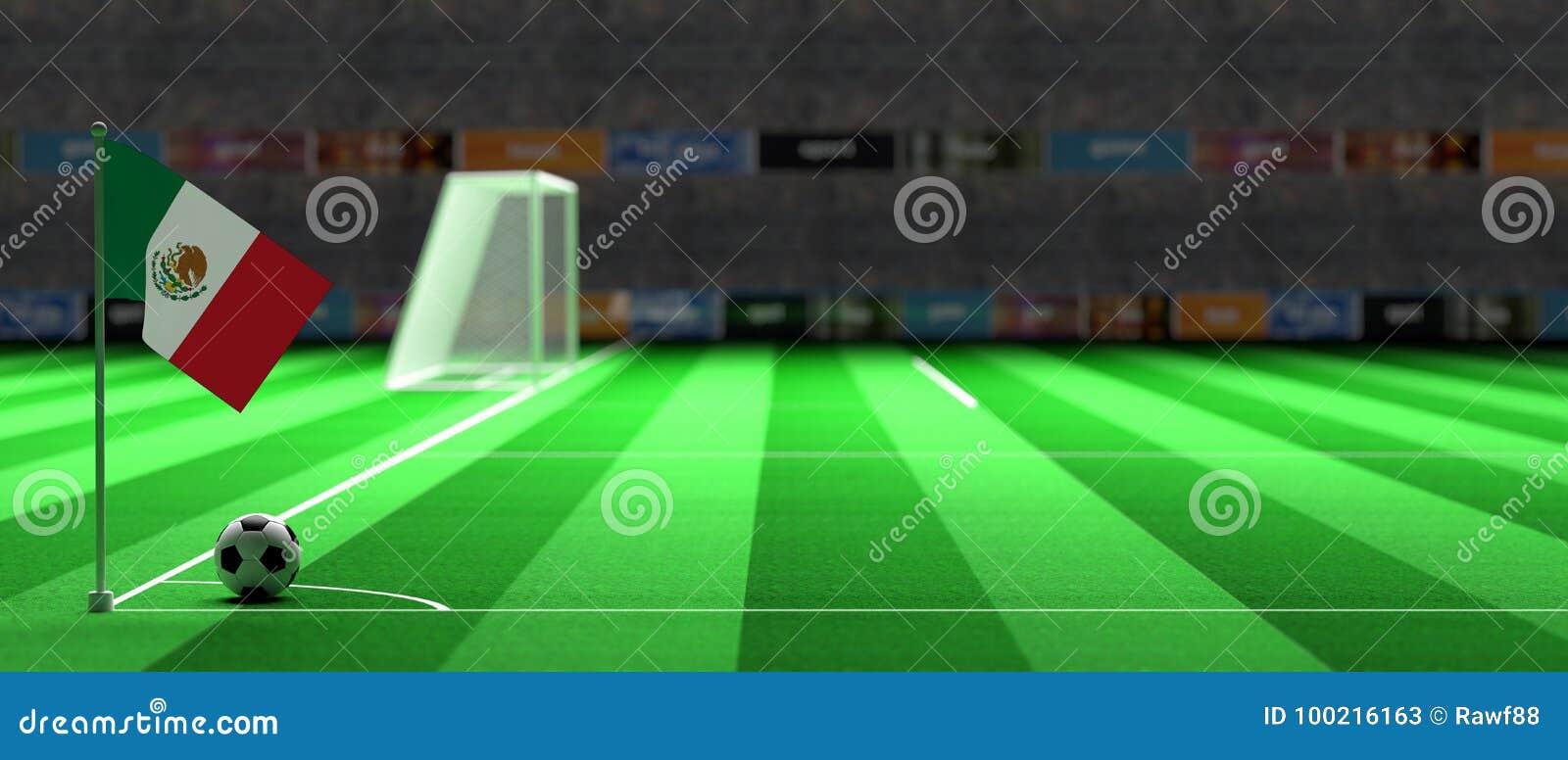 De vlag van Mexico op een voetbalgebied 3D Illustratie