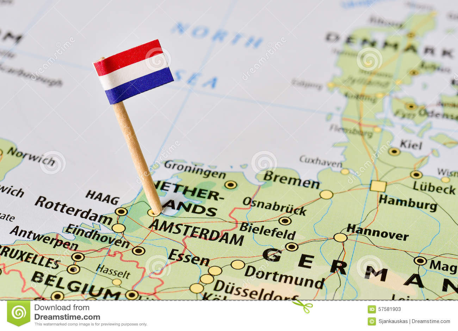 De vlag van Nederland op kaart
