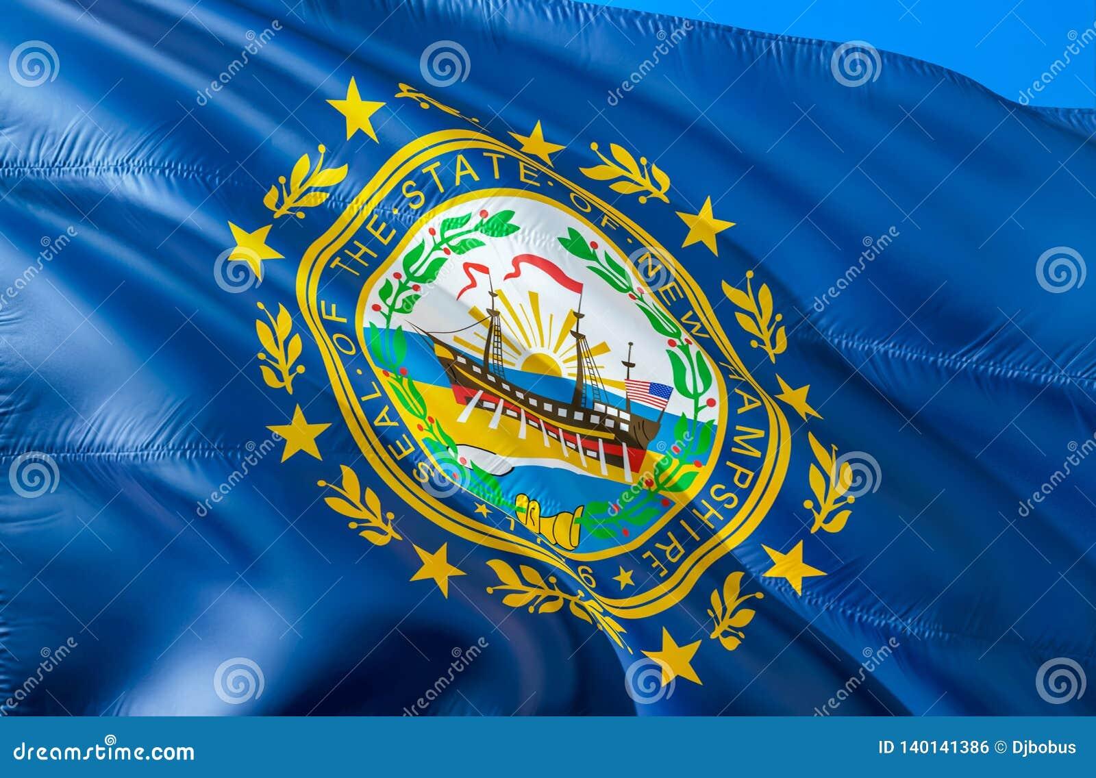 De Vlag van Newhampshire 3D het Golven de V.S. de vlagontwerp van de staat E Nationale kleuren