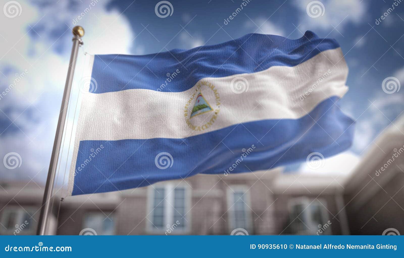 De Vlag van Nicaragua het 3D Teruggeven op Blauwe Hemel de Bouwachtergrond