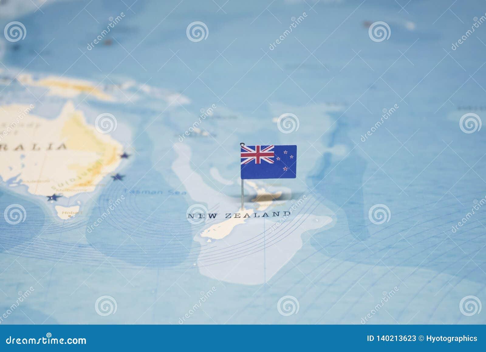 De Vlag van Nieuw Zeeland in de wereldkaart