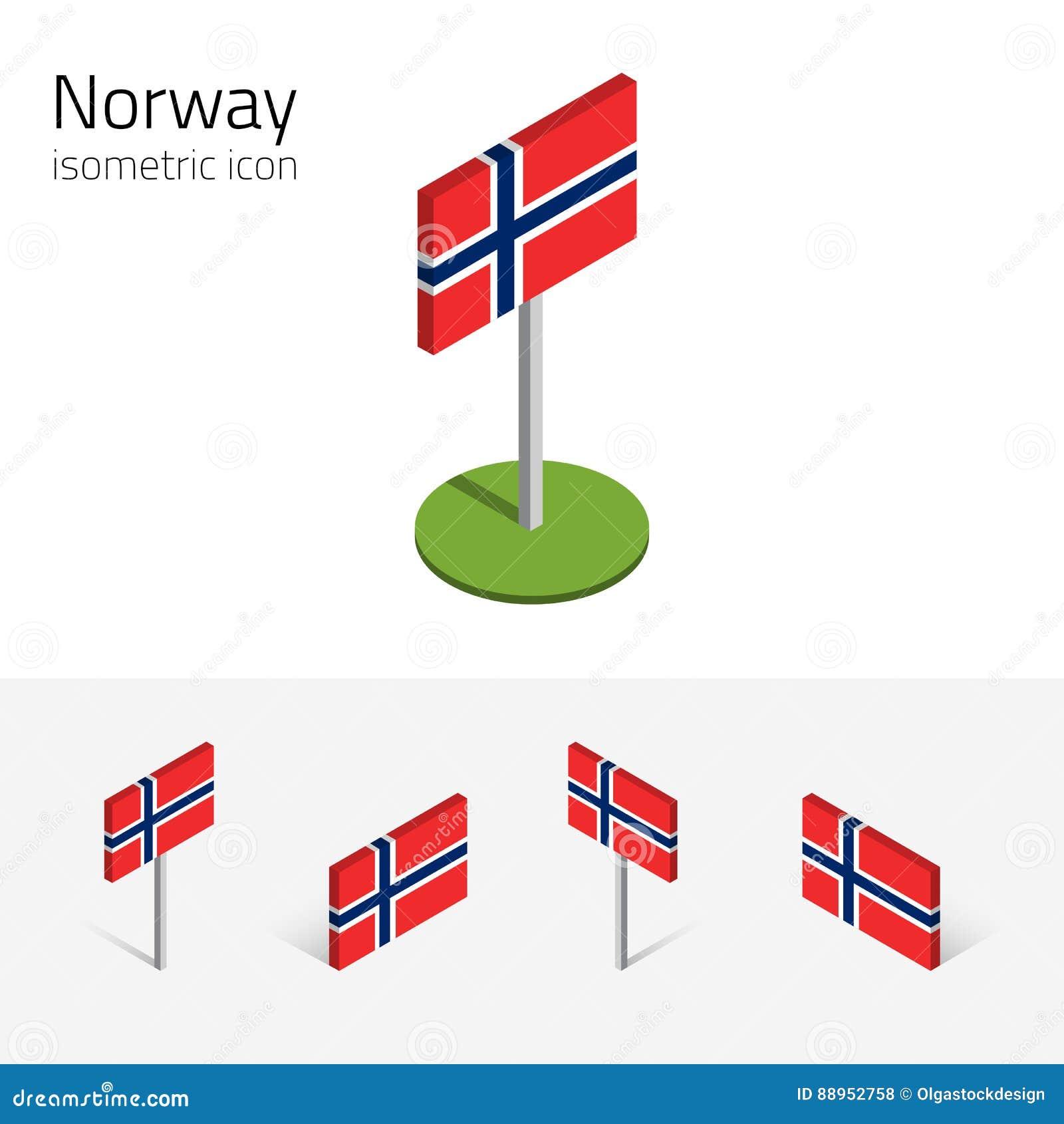 De vlag van Noorwegen, vectorreeks 3D isometrische pictogrammen