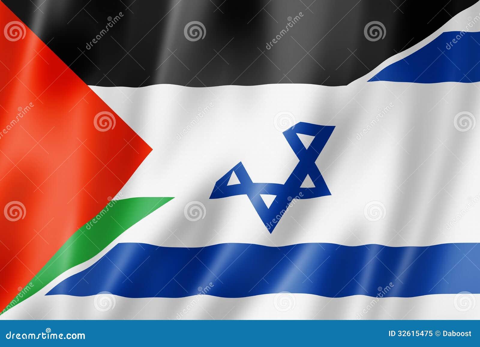 De vlag van Palestina en van Israël