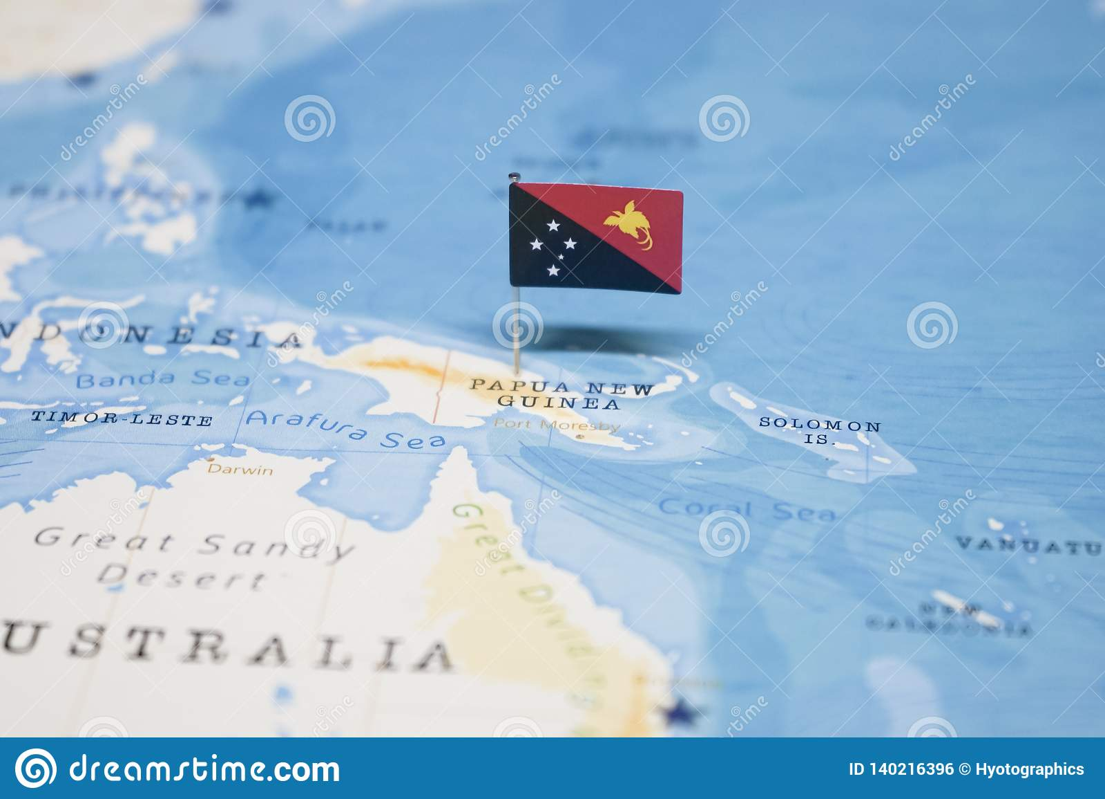 De Vlag van Papoea-Nieuw-Guinea in de wereldkaart