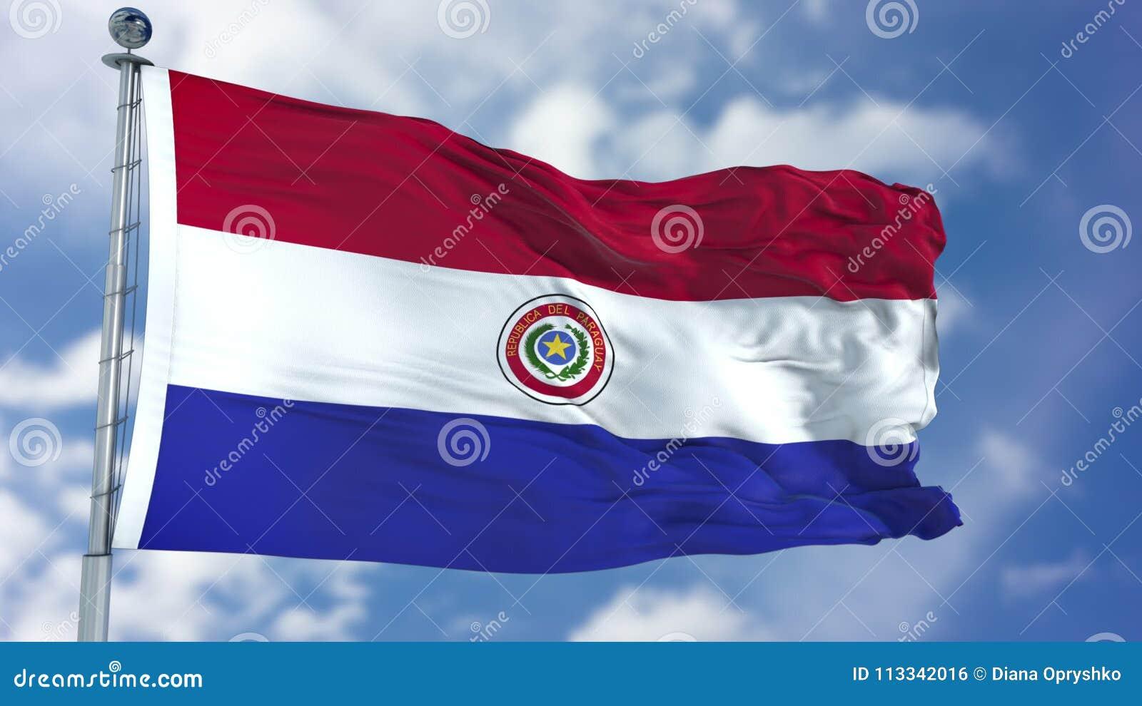 De Vlag van Paraguay in een Blauwe Hemel