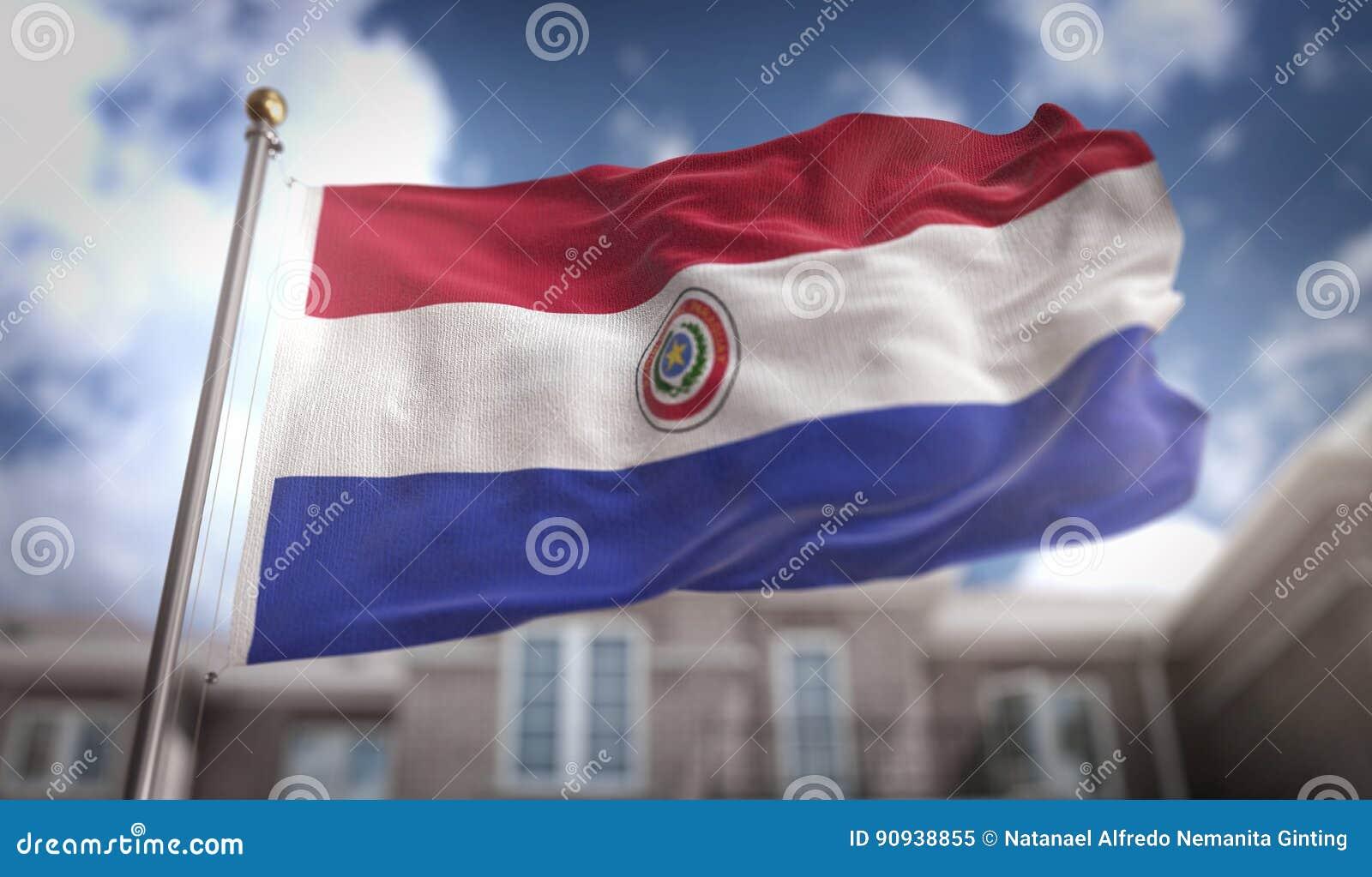 De Vlag van Paraguay het 3D Teruggeven op Blauwe Hemel de Bouwachtergrond