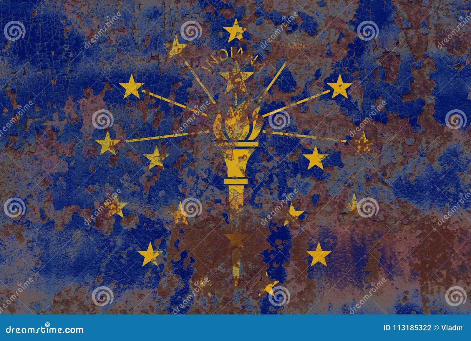 De vlag van de staat van Indiana grunge, de Verenigde Staten van Amerika