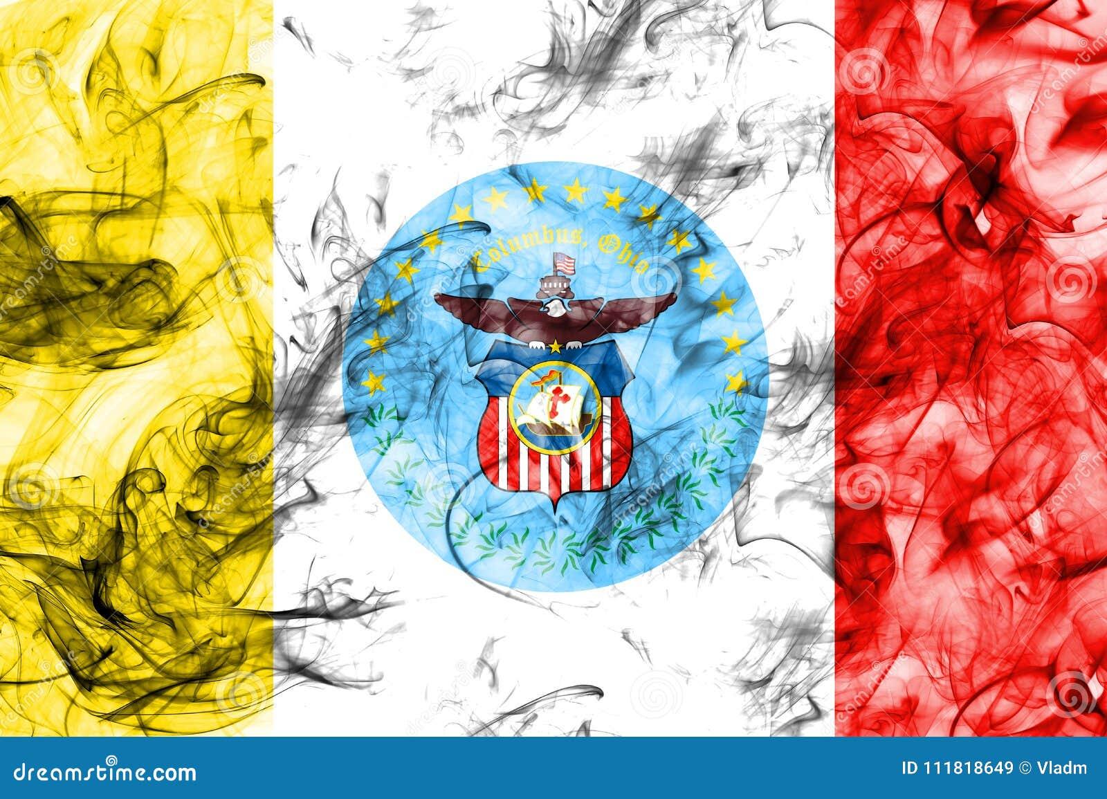 De vlag van de de stadsrook van Columbus, de Staat van Ohio, de Verenigde Staten van Amerika