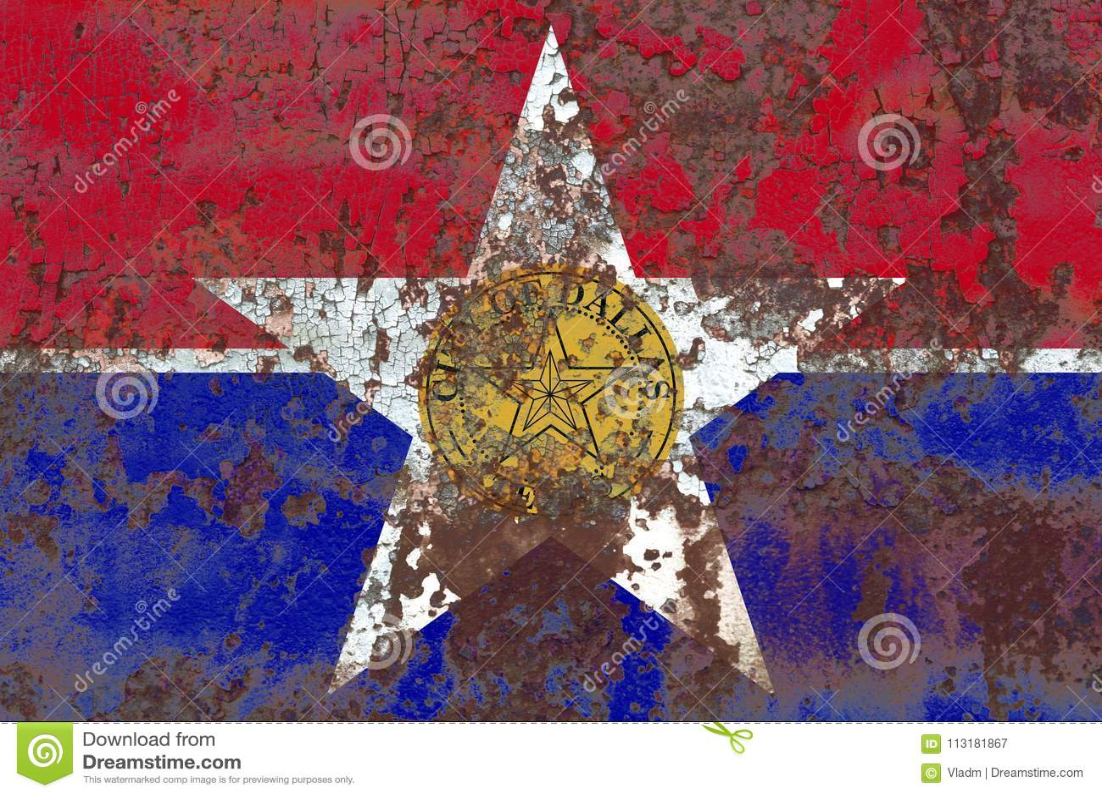 De vlag van de de stadsrook van Dallas, de Staat van Illinois, de Verenigde Staten van Amerika