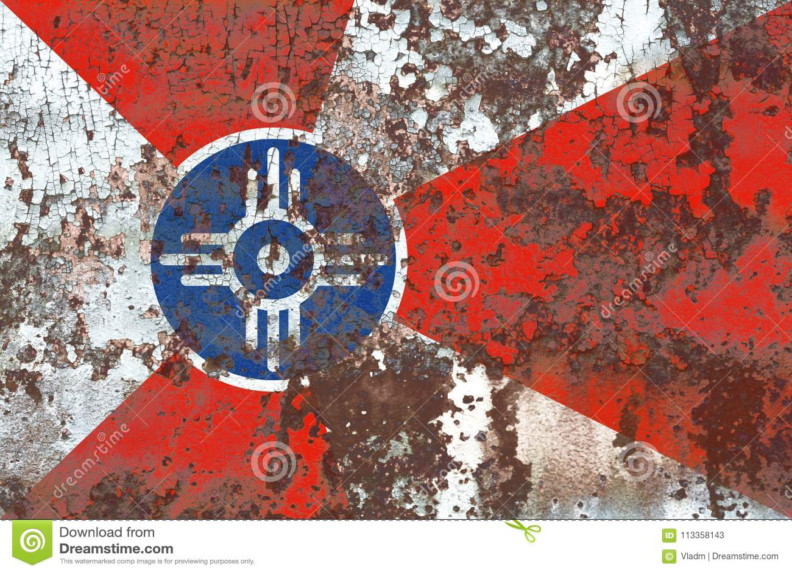 De vlag van de de stadsrook van Wichita, de Staat van Kansas, de Verenigde Staten van Amerika
