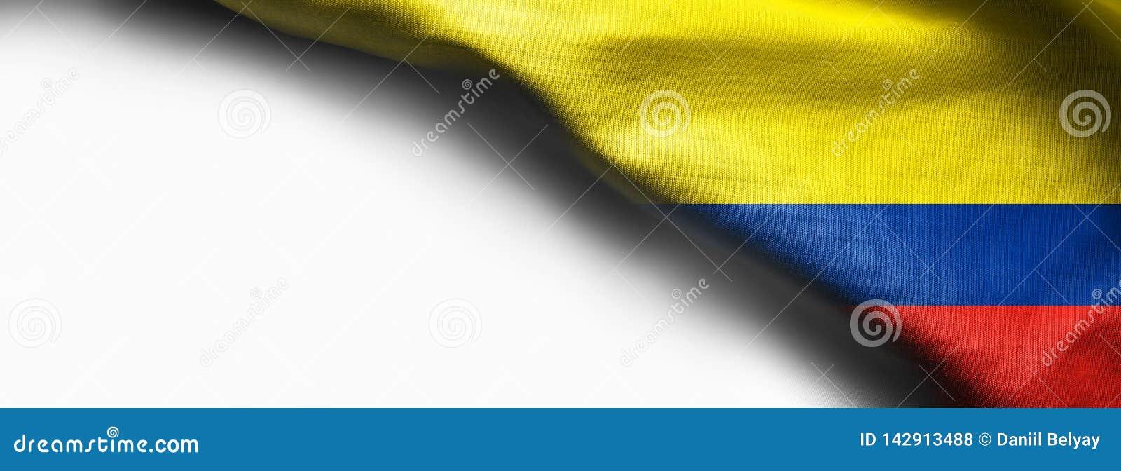 De vlag van de stoffentextuur van Colombia op witte achtergrond - juiste hoogste hoek