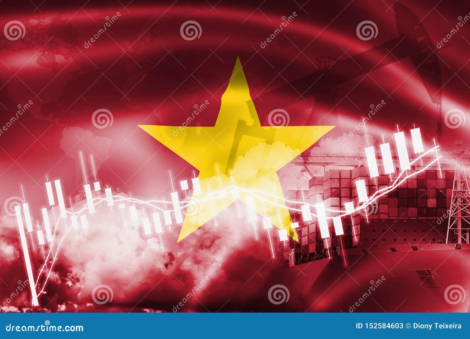 De vlag van Vietnam, effectenbeurs, uitwisselingseconomie en Handel, olieproductie, containerschip in de uitvoer en de invoerzake