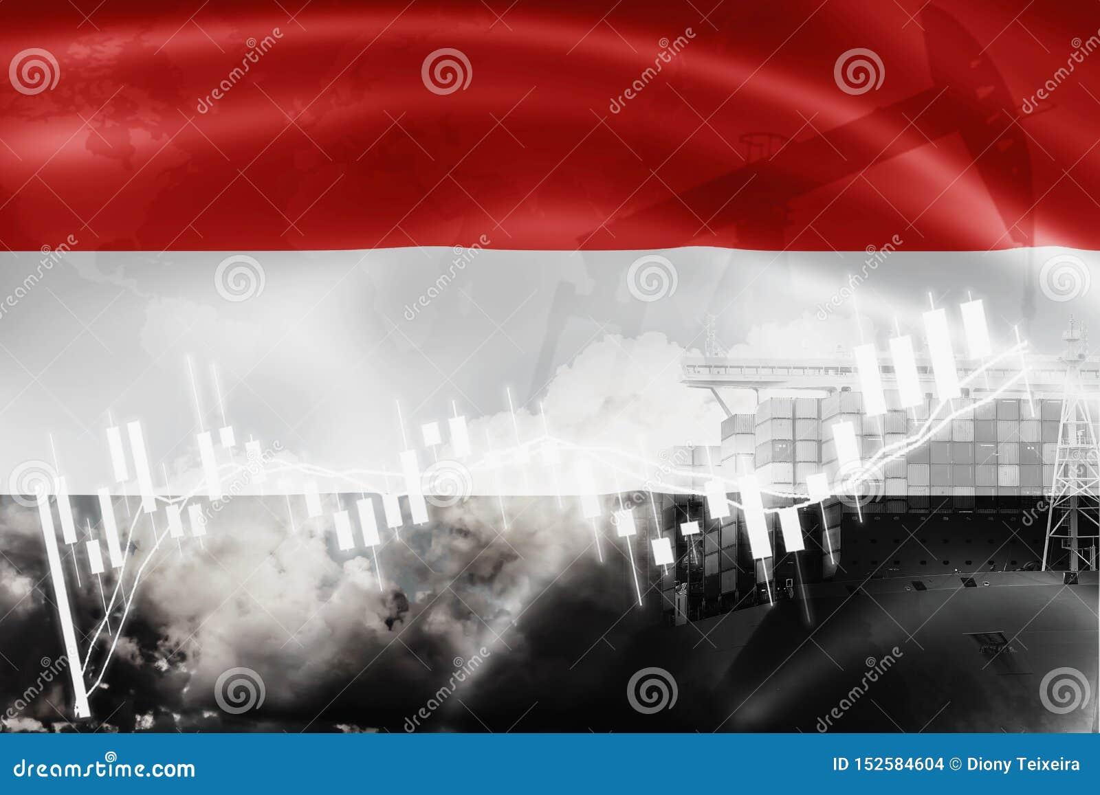 De vlag van Yemen, effectenbeurs, uitwisselingseconomie en Handel, olieproductie, containerschip in de uitvoer en de invoerzaken