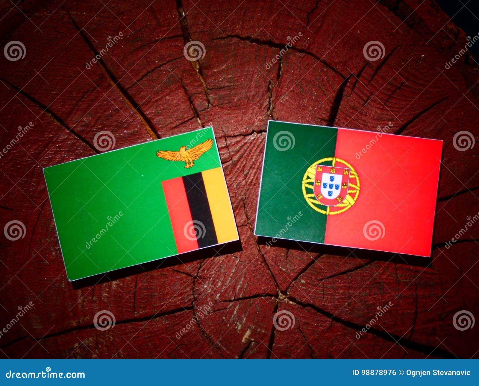 De vlag van Zambia met Portugese vlag op een geïsoleerde boomstomp